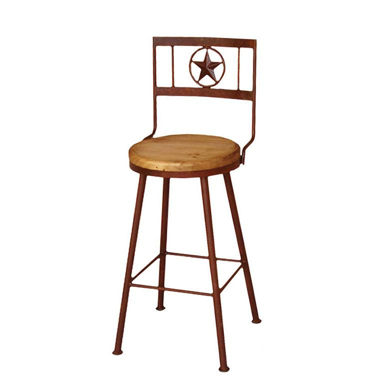 Rustic Pine Collection Short Swivel Star Bar Stool Ban721