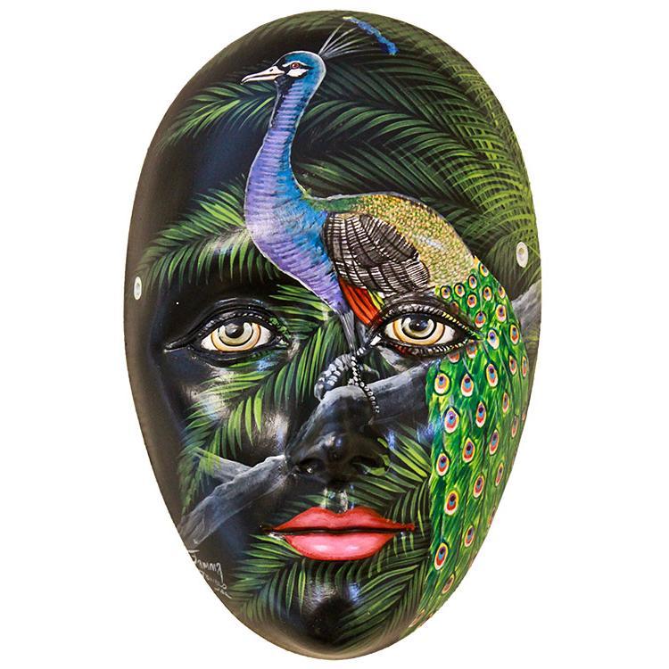 Ceramic Figures Peacock Mask FAM13