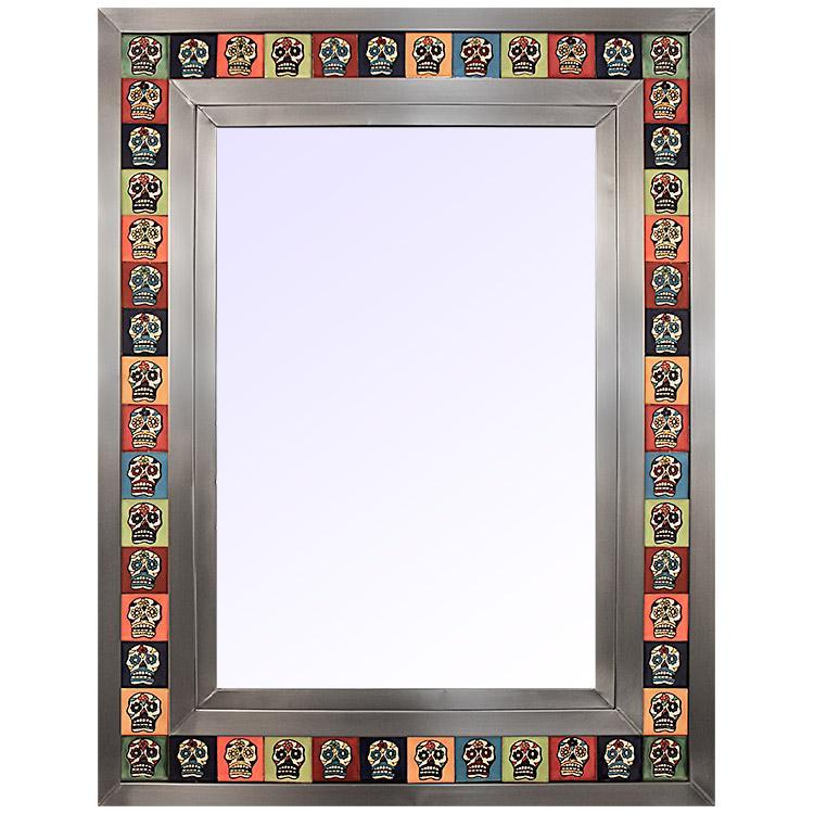 Large Tile Mirror W Skull Tiles Natural Finish