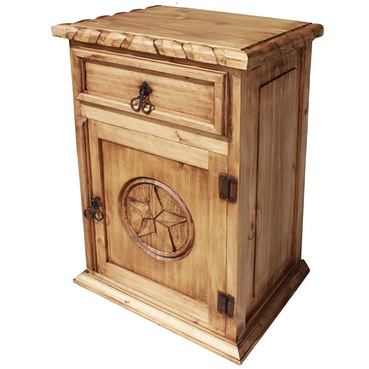 Rustic Pine Collection Texas Nightstand W Rope Edge