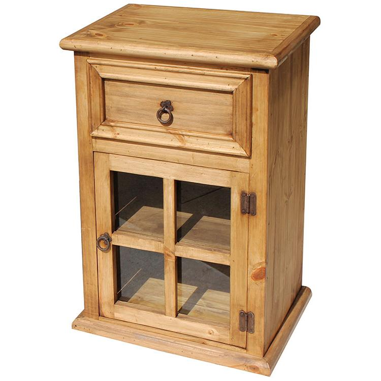 Rustic pine collection finestra nightstand for Rustic nightstands
