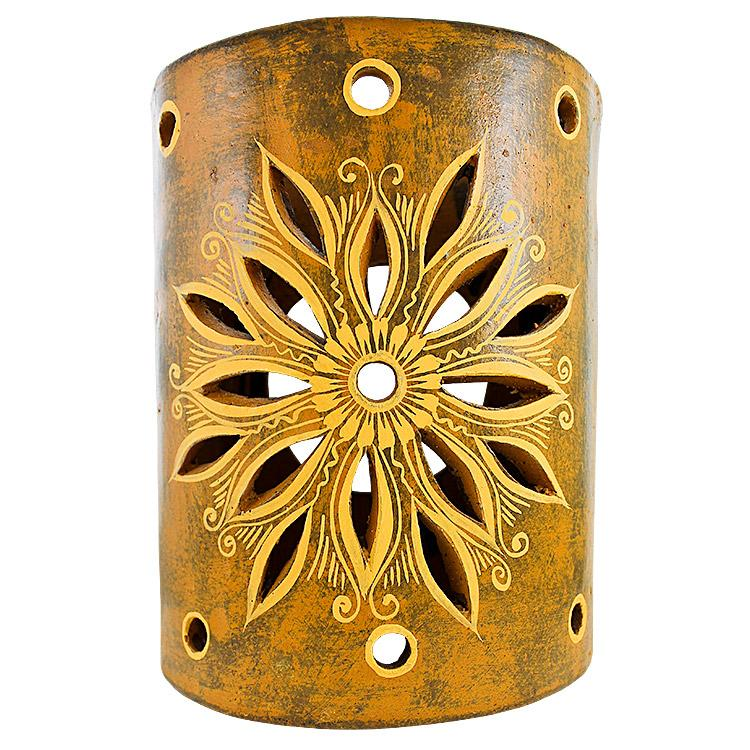 New Mexican Wall Sconces : Ceramica Cruz Blanca Collection - Clay Wall Sconce - CCBS004