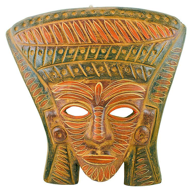 Ceramica Cruz Blanca Collection Clay Mask Mayan King