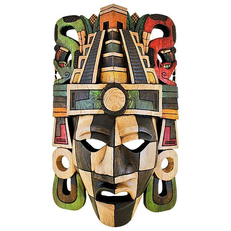 Painted wall art wooden mask pyramid headdress wm007