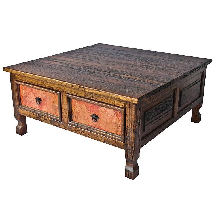 Two Drawer Coffee Table W/ Copper Drawers