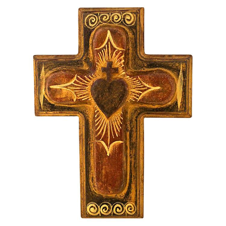 Clay Wall Art Sacred Heart Cross Cbwa090