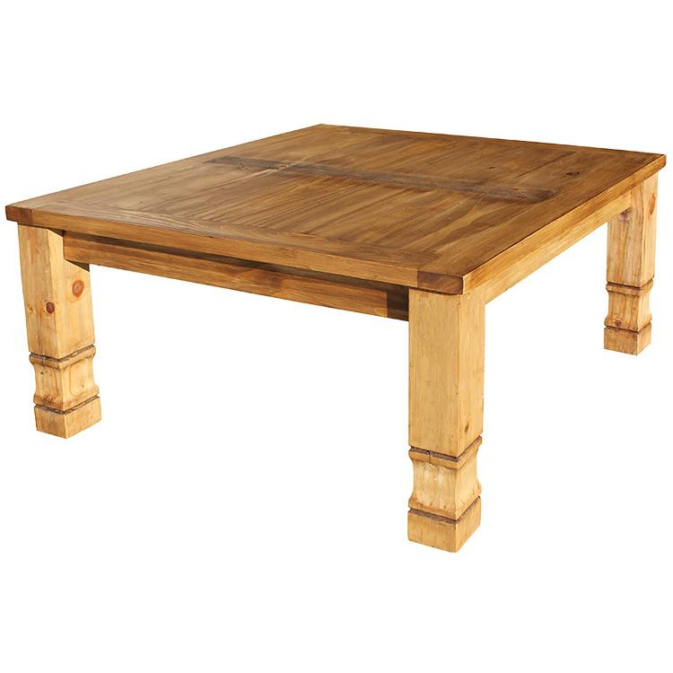 Rustic pine collection square julio coffee table cen17 for Pine coffee table