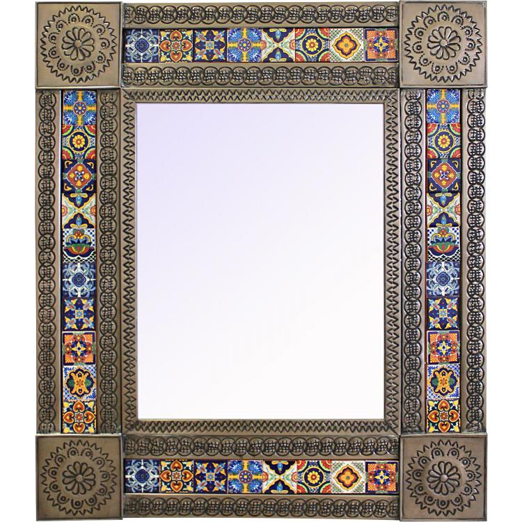 small tile mirror oxidized finish - Mexican Frame