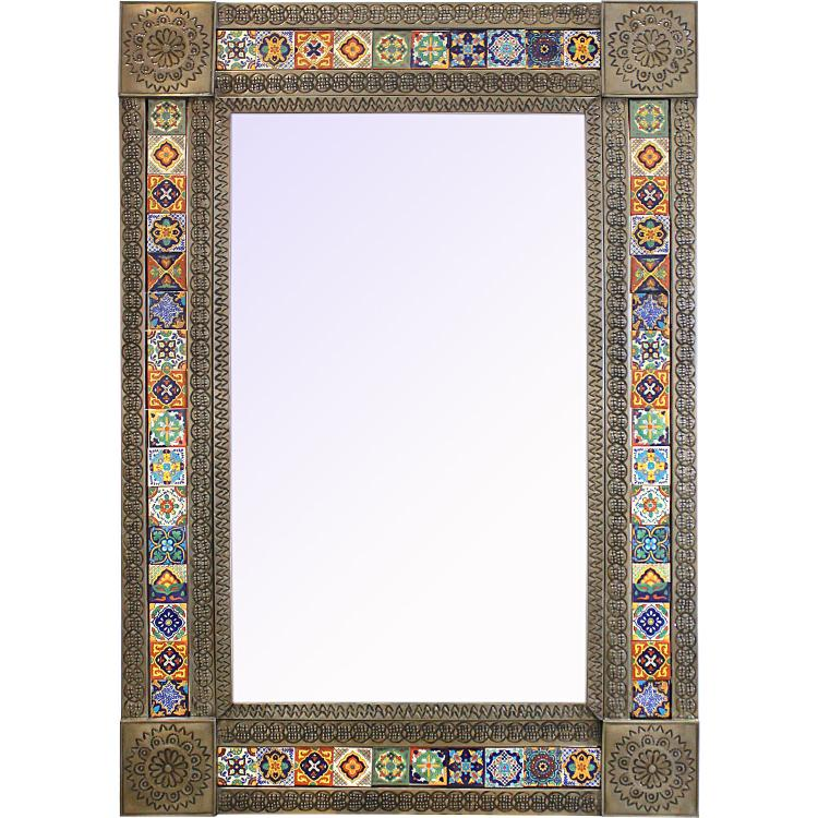 Extra Large Tile Mirror Frame Oxidized Finish