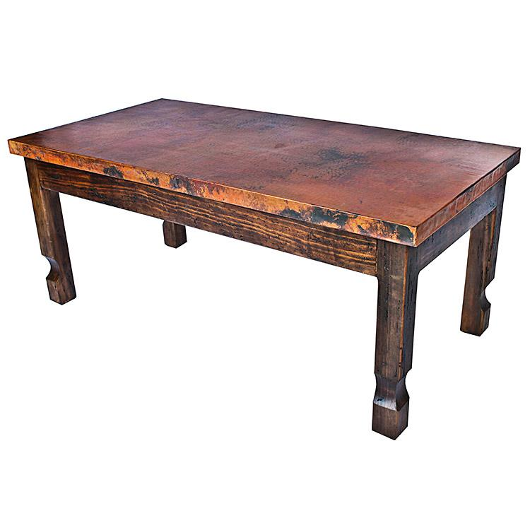 Antique Pine Copper Collection Isidro Coffee Tablew Copper Top Rsc Cof001