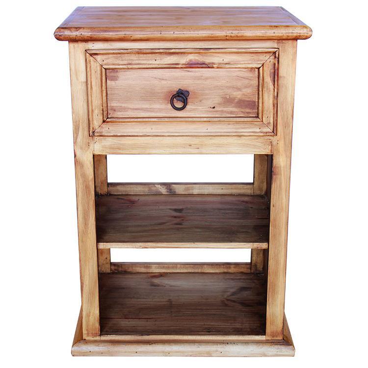 Rustic pine collection oasis nightstand w shelf bur60 for Rustic nightstands