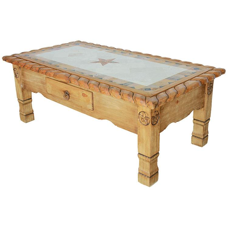 Texana Star Mexican Rustic Pine Coffee Table With Inlaid Marble Horseshoe Mexican Rustic Pine