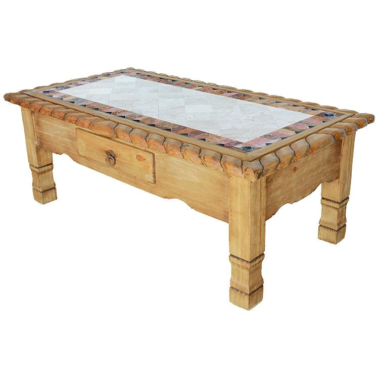 Rustic Pine Collection Texana Coffee Tablew Inlaid Marble Cen403