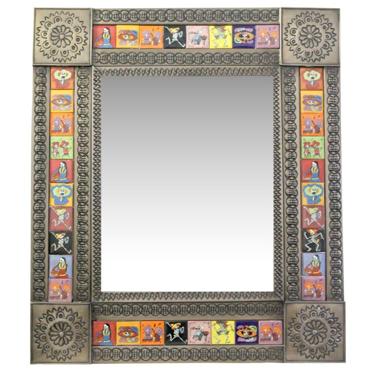 Small Tile Mirror Day Of The Dead Oxidized Finish