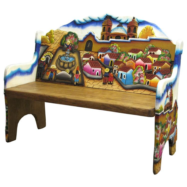 Carved Collection Pueblo Bench CB210