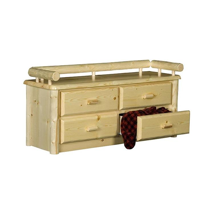 Pine Log Collection Four Drawer Chest Log021
