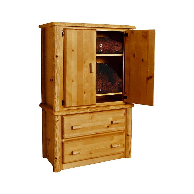 pine log collection two drawer armoire log028