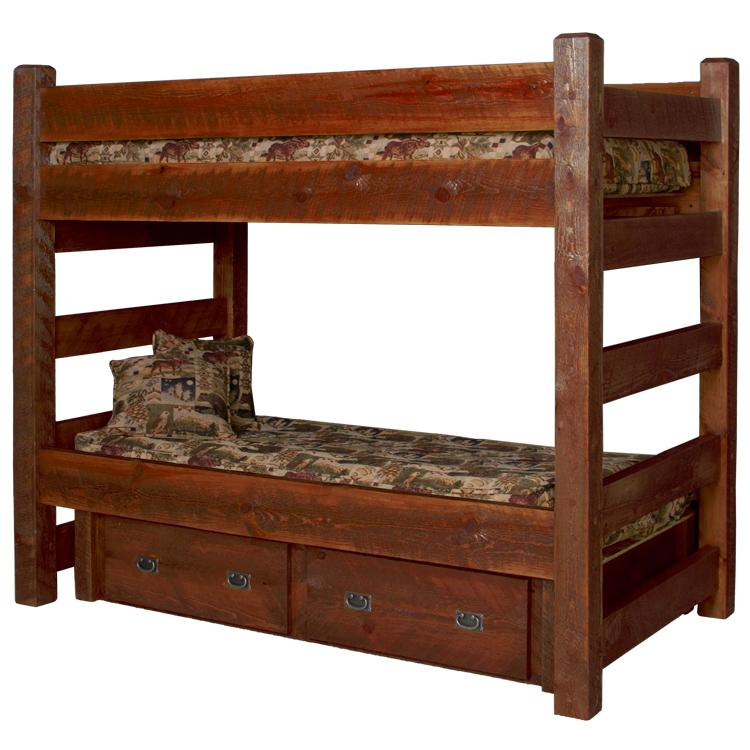 Beds And Headboards Barnwood Bunk Bed W Drawers Bw67