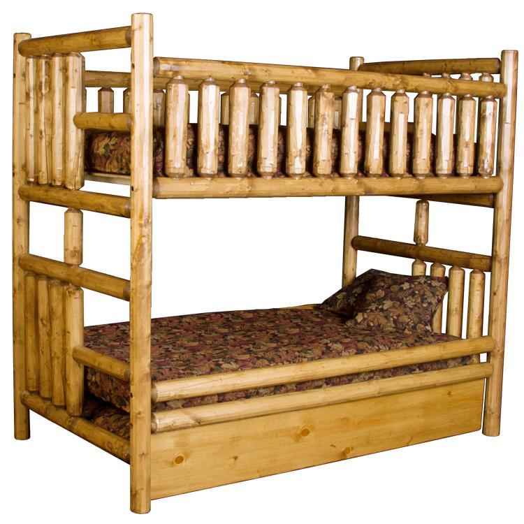 Pine log collection northwoods bunk bedw trundle log099 for Log loft bed