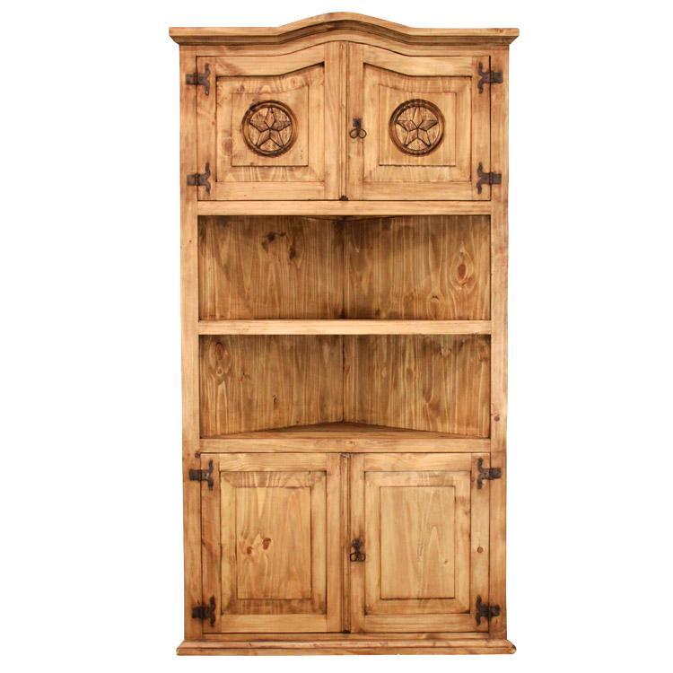 Rustic Pine Collection Largecorner Bookcase W Stars