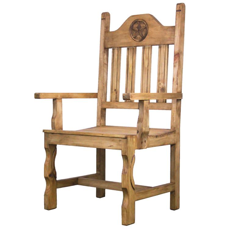Rustic Pine Collection Pueblo Star Arm Chair Sil534