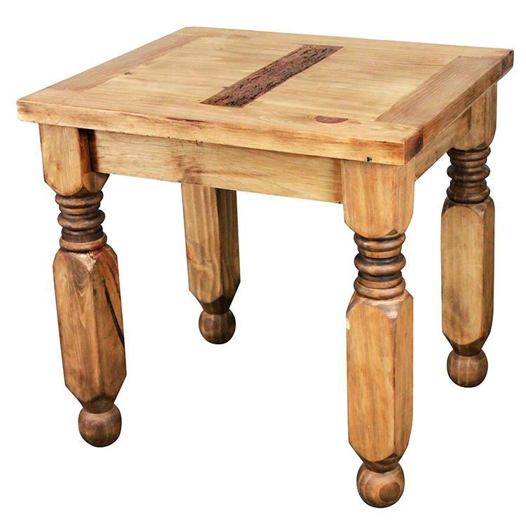"La Fuente Imports Lyon Mexican Rustic Pine End Table 23""W..."