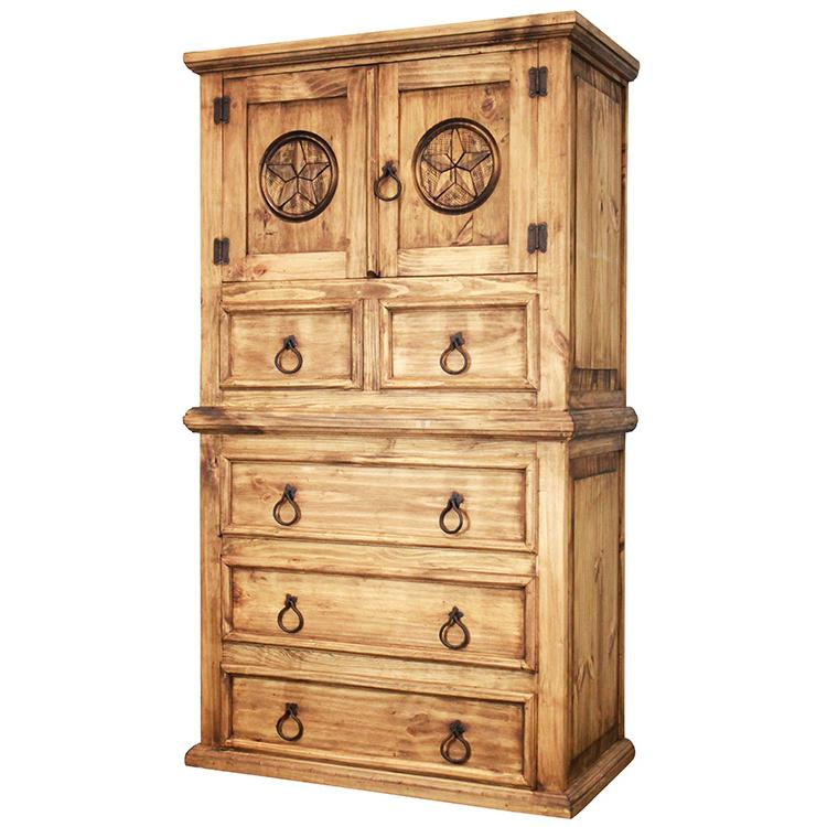 Aztec Mexican Style Solid Wood Pine Bedroom Furniture: Tall Tonala Star Dresser