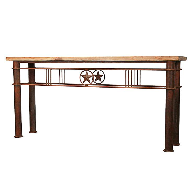 Rustic Pine Collection Iron Star Console Table CON421