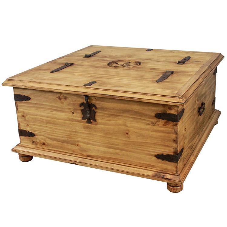 Rustic Pine Collection Star Top Trunk Coffee Table Cen159