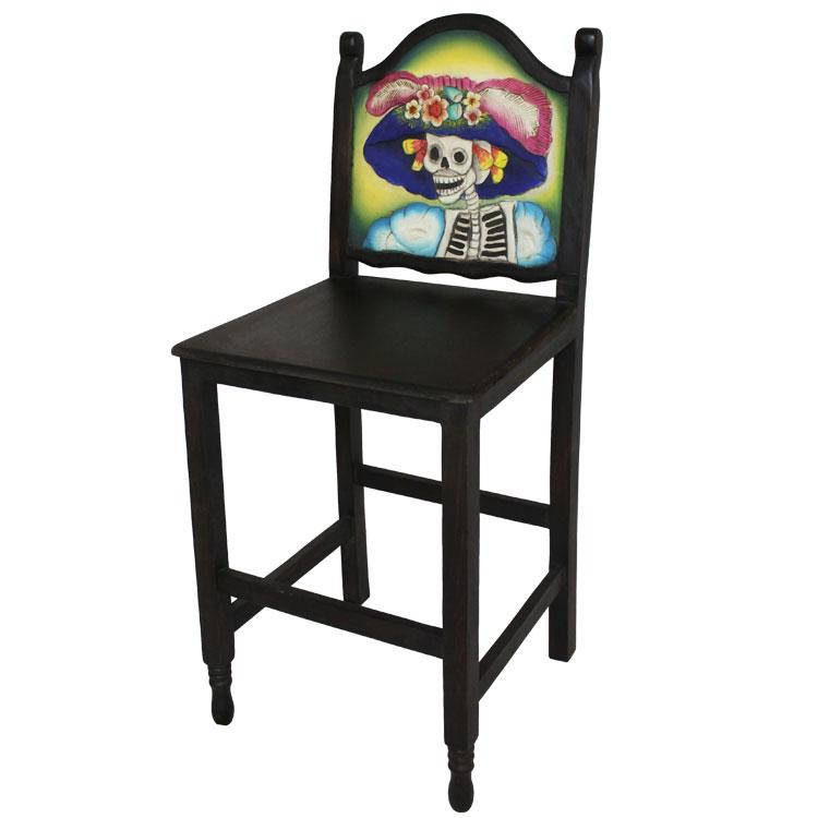 Carved Collection Day Of The Dead Bar Stool Cc170 Bs
