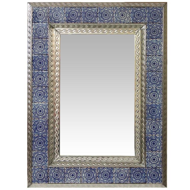 Hand Painted Talavera Mirror | Mexican Rustic Furniture ... |Talavera Mirror
