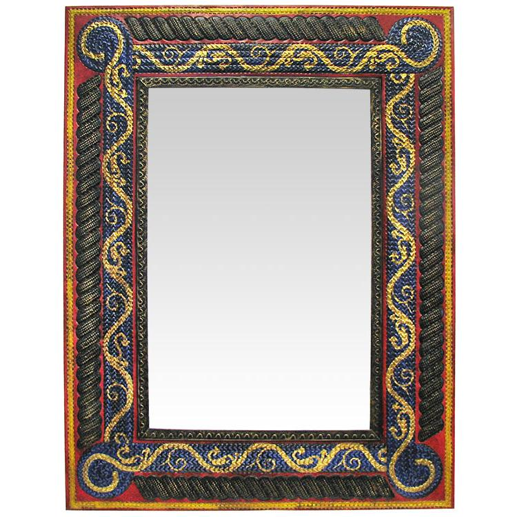 Large Tin Mirrors Collection Painted Gold Vine Mirror