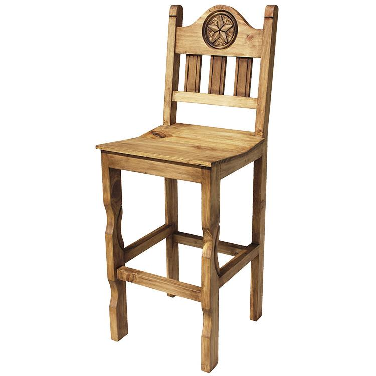 Rustic Pine Collection Tall Pueblo Star Bar Stool Ban999