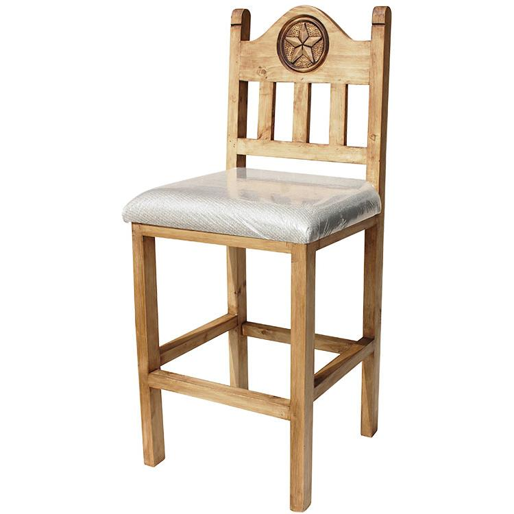 Short Lone Star Bar Stool W Cushion