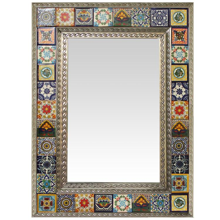Talavera Tile Mirror W Multi Colored Tiles