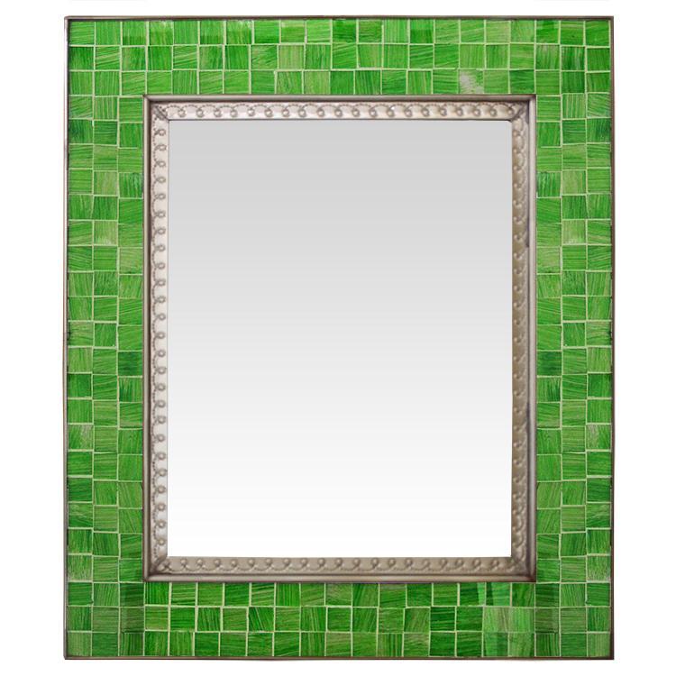 Talavera Tile Mirrors Collection - Glass Tile Mirrorw/ Green Glass ...