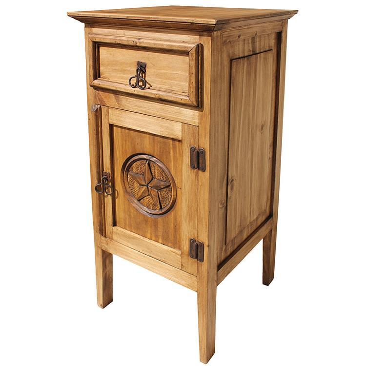 rustic pine collection tall texas nightstand