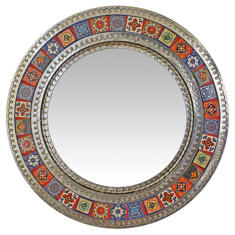 Small Round Tile Mirror Natural Finish