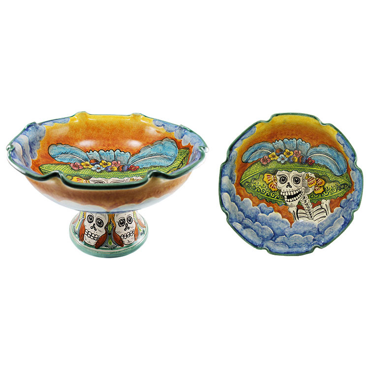Large Day of the Dead Fruit Bowl  sc 1 st  La Fuente Imports & Santa Rosa Majolica - LargeDay of the DeadFruit Bowl - MSR0014