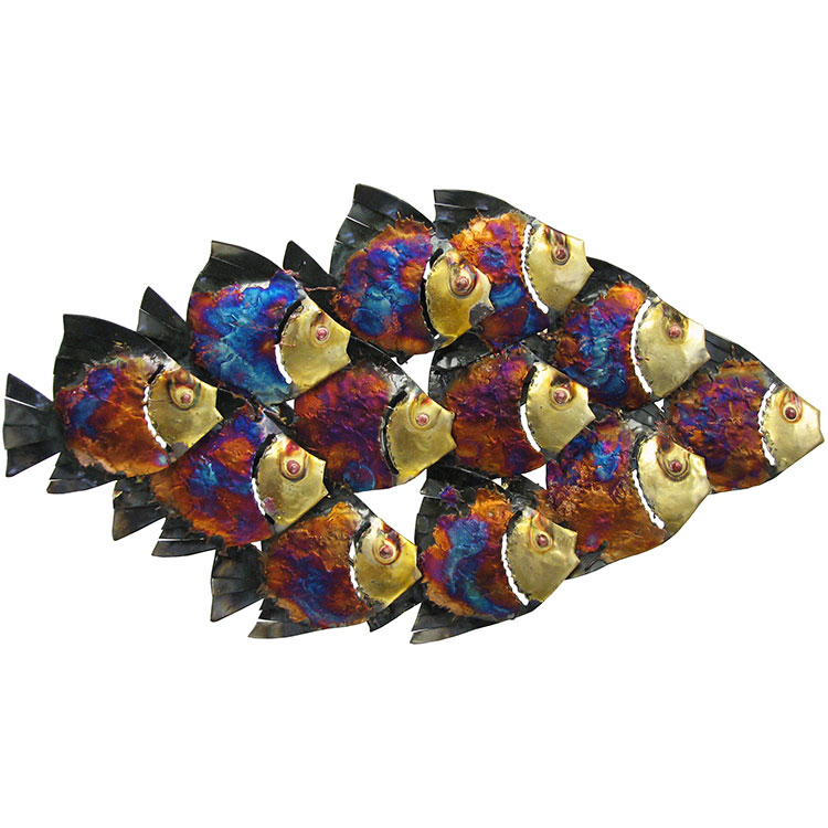 Metal Fish Wall Lights : Metal Wall Art Collection - School of Fish with Light - MWA20