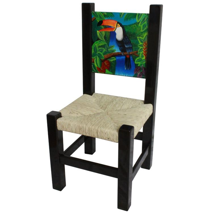 Painted Toucan Chair   Woven Palm Seat