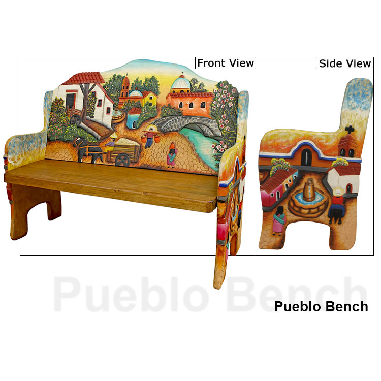 Carved Collection Pueblo Bench 2 Cb215