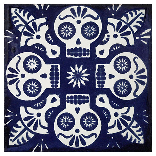Talavera Tile Collection Talavera Tile - Black and white talavera tile
