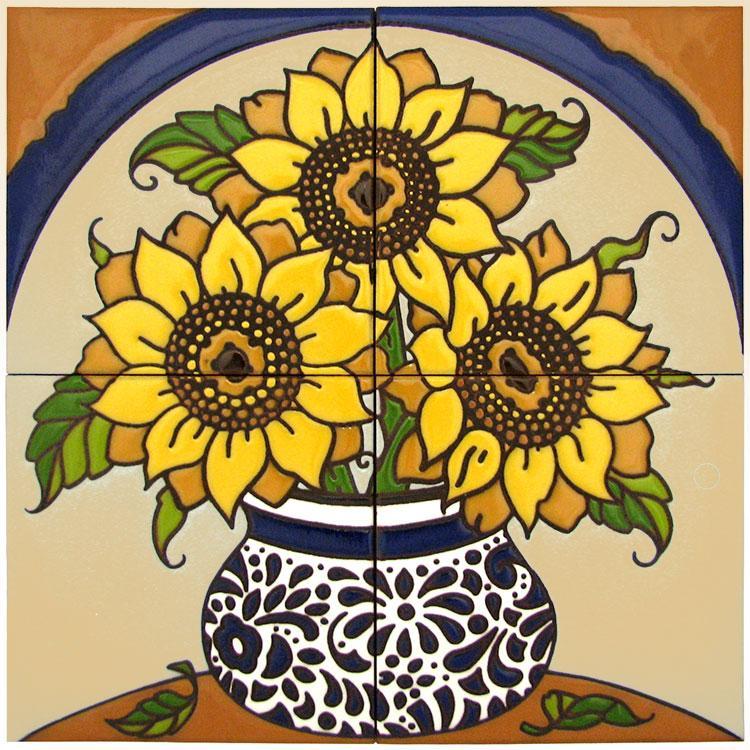 Decorative Tile Collection Floral Tile Mural Hdm023br