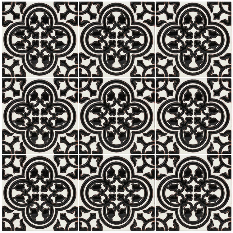 Talavera Tile Collection Primavera NegraTalavera Relief Tile - Black and white talavera tile