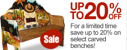For a limited time save up to 20% on select carved benches!