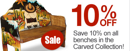 Save 10% on all hand-painted and carved benches!