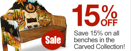 Save 15% on all hand-painted and carved benches!