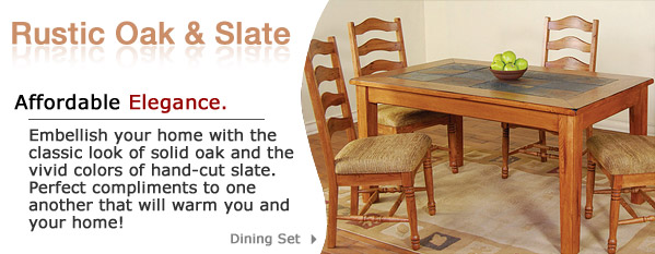 Authentic Rustic Oak Slate Furniture And Mexican Furniture - Dining table with slate inlay
