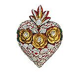 Large Red Heart with Silver Milagros